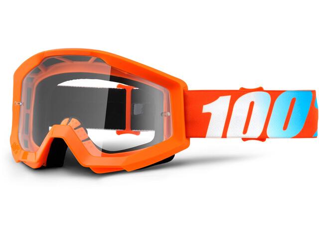 100% Strata Anti Fog Clear Goggles Kinder orange